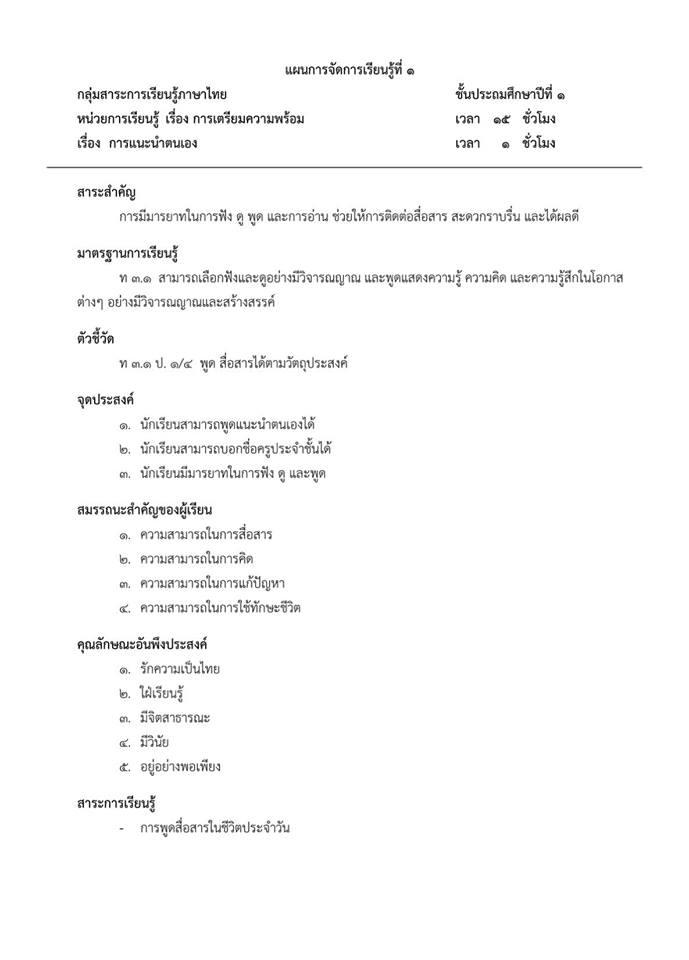 ดาวน์โหลดไฟล์แผนการสอนตามหนังสือกระทรวงวิชาภาษาไทยชั้นประถมศึกษาปีที่ 1-6