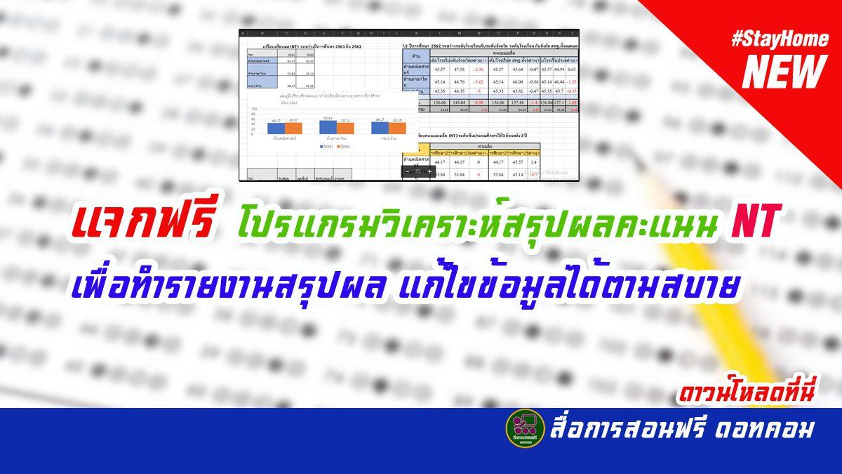 แจกฟรี โปรแกรมวิเคราะห์สรุปผล NT เพื่อทำรายงานสรุปผล แก้ไขข้อมูลได้ง่าย