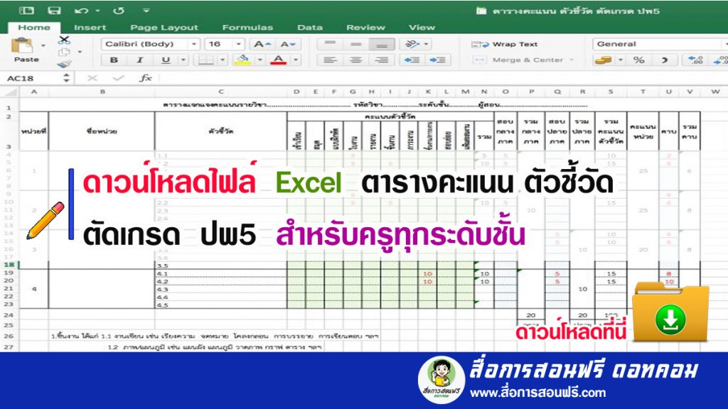 ดาวน์โหลดไฟล์ Excel ตารางคะแนน ตัวชี้วัด ตัดเกรด ปพ5 สำหรับครูทุกระดับชั้น