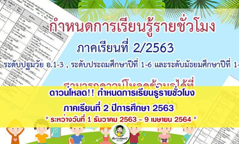 กำหนดการเรียนรู้รายชั่วโมง ภาคเรียนที่ 2 ปีการศึกษา 2563