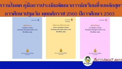 ดาวน์โหลดแบบไฟล์เดียว : คู่มือการประเมินพัฒนาการนักเรียนที่จบหลักสูตรการศึกษาปฐมวัย พุทธศักราช 2560 ปีการศึกษา 2563