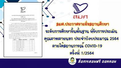 สมศ.ประกาศรายชื่อสถานศึกษาระดับการศึกษาขั้นพื้นฐาน ที่รับการประเมินคุณภาพภายนอก ประจำปีงบประมาณ 2564 ภายใต้สถานการณ์ COVID-19 ครั้งที่ 1/2564