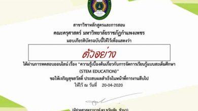 ขอเชิญทำแบบทดสอบความรู้เบื้องต้นเกี่ยวกับการจัดการเรียนรู้แบบสะเต็มศึกษา (STEM EDUCATION) ผ่านเกณฑ์ร้อยละ 70 ขึ้นไปจะได้รับเกียรติบัตร
