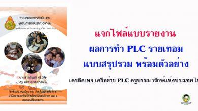 แจกไฟล์แบบรายงานผลการทำ PLC รายเทอม แบบสรุปรวม พร้อมตัวอย่าง เครดิตเพจ เครือข่าย PLC ครูบรรณารักษ์แห่งประเทศไทย