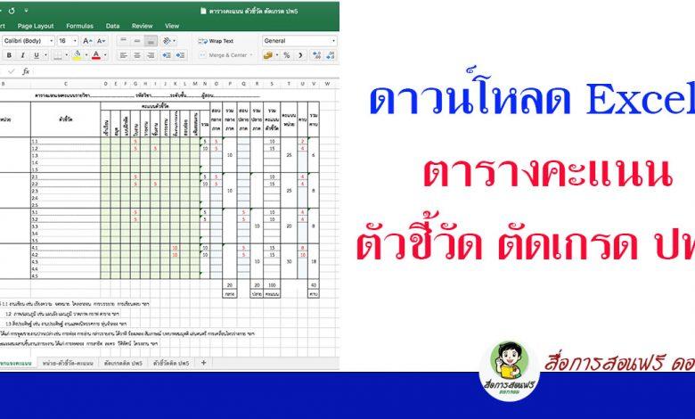 ดาวน์โหลด Excel ตารางคะแนน ตัวชี้วัด ตัดเกรด ปพ5