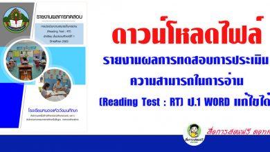 ดาวน์โหลดไฟล์รายงานผลการทดสอบการประเมินความสามารถในการอ่าน (Reading Test : RT)ป.1 WORD แก้ไขได้ เครดิต ห้องเรียนครูไข่นุ้ย