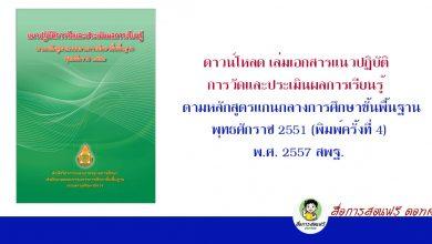 ดาวน์โหลด เล่มเอกสารแนวปฏิบัติการวัดและประเมินผลการเรียนรู้ ตามหลักสูตรแกนกลางการศึกษาขั้นพื้นฐาน พุทธศักราช 2551 (พิมพ์ครั้งที่ 4) พ.ศ. 2557 สพฐ.