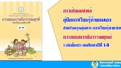 ดาวน์โหลดไฟล์ คู่มือการเรียนรู้ด้วยตนเอง สำหรับครูกลุ่มสาระการเรียนรู้ภาษาไทย การสอนการผันวรรณยุกต์ ระดับชั้นประถมศึกษาปีที่ 1-3
