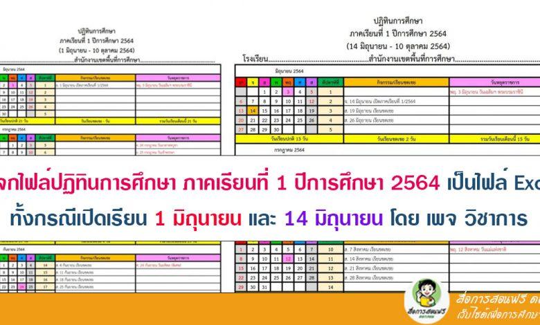 แจกไฟล์ปฏิทินการศึกษา ภาคเรียนที่ 1 ปีการศึกษา 2564 เป็นไฟล์ Excel สามารถปรับแก้ไขเป็นของโรงเรียนได้ ทั้งกรณีเปิดเรียน 1 มิถุนายน และ 14 มิถุนายน โดย เพจ วิชาการ