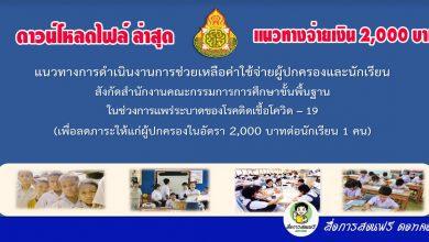 ดาวน์โหลดไฟล์ แนวทางการดำเนินงานการช่วยเหลือค่าใช้จ่ายผู้ปกครองและนักเรียน 2,000 บาท สังกัด สพฐ. การประชุม สพฐ. วันที่ 27 สิงหาคม 2564