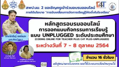 สพป.นครราชสีมา เขต 2 ขอเชิญลงทะเบียนอบรมออนไลน์หลักสูตรการออกแบบกิจกรรมการเรียนรู้แบบ UNPLUGGED ระดับประถมศึกษา ระหว่างวันที่ 7 - 8 กันยายน 2564