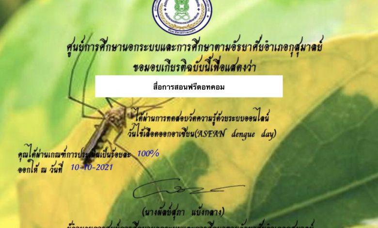 ขอเชิญทำแบบทดสอบออนไลน์วันไข้เลือดออกอาเซียน(ASEAN Dengue Day)