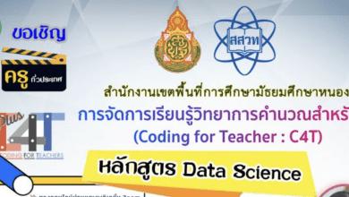 ขอเชิญอบรม C4T Plus หลักสูตร วิทยาการข้อมูล (Data Science) ระหว่างวันที่ 28-29 ตุลาคม 2564 (ผู้จัด สพม. หนองคาย)